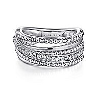 925 Silver Wide Band White Sapphire Ladies Ring