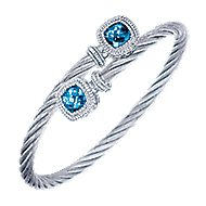 925 Silver/stainless Steel Cushion Cut Twisted Cable Swiss Blue Topaz Bangle
