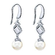 925 Sterling Silver & 18k Yellow Gold Cultured Pearl Drop Earrings