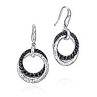 925 Sterling Silver Black Spinel Double Circle Drop Earrings