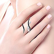 925 Sterling Silver Black Spinel Open Wrap Ladies Ring