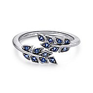925 Sterling Silver Floral Inspired Sapphire Fashion Ring