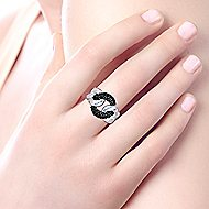 925 Sterling Silver Hammered Black Spinel Chain Link Fashion Ring