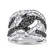 925 Sterling Silver Hammered Black Spinel Ladies Ring