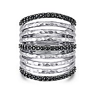 925 Sterling Silver Hammered Black Spinel Layered Ladies Ring