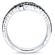 925 Sterling Silver Hammered Black Spinel Open Wrap Ladies Ring