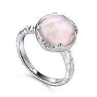 925 Sterling Silver Hammered Rock Crystal & Pink Mother of Pearl Ladies Ring
