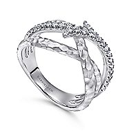925 Sterling Silver Hammered White Sapphire Ladies Fashion Ring