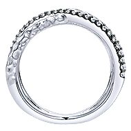 925 Sterling Silver Hammered Wide Band White Sapphire Ladies Ring