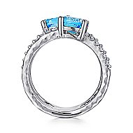 925 Sterling Silver Multi Color Stones Wide Band Fashion Ring