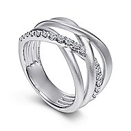 925 Sterling Silver Twisted White Sapphire Fashion Ring