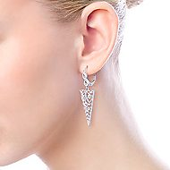 925 Sterling Silver Vintage Inspired Triangular White Sapphire Drop Earrings