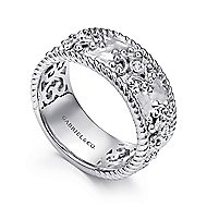 925 Sterling Silver Vintage Inspired Wide Band Ladies Ring