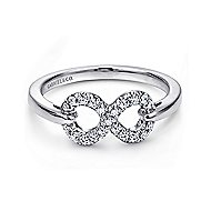 925 Sterling Silver White Sapphire Infinity Fashion Ring