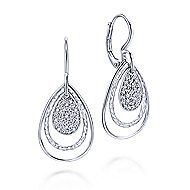 925 Sterling Silver White Sapphire Pendant Trio Earrings