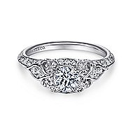 Abel 14k White Gold Round Halo Engagement Ring angle 1