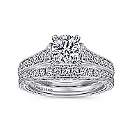 Abigail 14k White Gold Round Straight Engagement Ring angle 4
