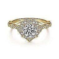 Adaline 14k Yellow Gold Round Halo Engagement Ring