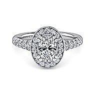 Addison Platinum Oval Halo Engagement Ring angle 1