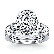 Addison Platinum Oval Halo Engagement Ring angle 4