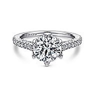 Adelaide 18k White Gold Round Straight Engagement Ring angle 1