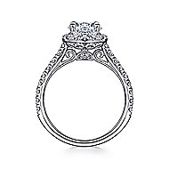 Adele 18k White Gold Round Halo Engagement Ring angle 2