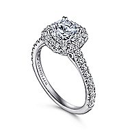 Adele 18k White Gold Round Halo Engagement Ring angle 3