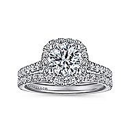 Adele 18k White Gold Round Halo Engagement Ring angle 4