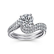 Adina 14k White Gold Round Bypass Engagement Ring angle 4