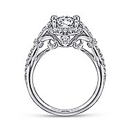 Adria 18k White Gold Round Halo Engagement Ring angle 2