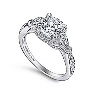 Adria 18k White Gold Round Halo Engagement Ring angle 3