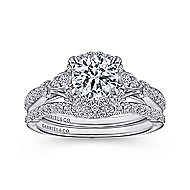 Adria 18k White Gold Round Halo Engagement Ring angle 4