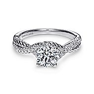 Adrianna 14k White Gold Round Twisted Engagement Ring angle 1