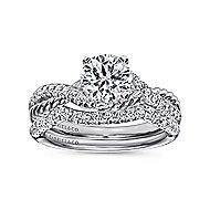 Adrianna 14k White Gold Round Twisted Engagement Ring angle 4