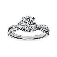 Adrianna 14k White Gold Round Twisted Engagement Ring angle 5