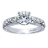 Agnes 14k White Gold Round Straight Engagement Ring angle 5