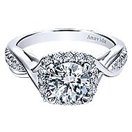 Aguilena 18k White Gold Round Halo Engagement Ring angle 1