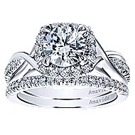 Aguilena 18k White Gold Round Halo Engagement Ring angle 4