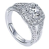 Aida 14k White Gold Cushion Cut Halo Engagement Ring angle 3