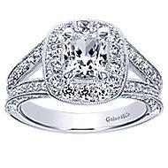 Aida 14k White Gold Cushion Cut Halo Engagement Ring angle 5