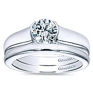 Akira 14k White Gold Round Solitaire Engagement Ring angle 4
