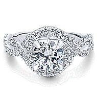Alana 14k White Gold Round Halo Engagement Ring angle 1