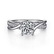 Aleesa 14k White Gold Round Bypass Engagement Ring angle 1