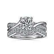 Aleesa 14k White Gold Round Bypass Engagement Ring