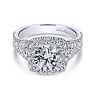 Alexia 18k White Gold Round Halo Engagement Ring angle 1