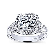 Alexia 18k White Gold Round Halo Engagement Ring angle 5