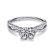 Alicia 14k White Gold Round Twisted Engagement Ring angle 1