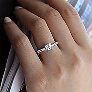 Alina 14k White Gold Cushion Cut Straight Engagement Ring