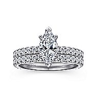 Alina 14k White Gold Marquise  Straight Engagement Ring