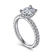 Alina 14k White Gold Oval Straight Engagement Ring